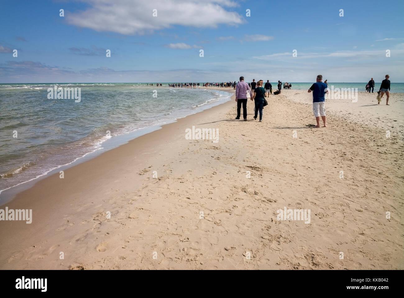 Skagen Strand Halbinsel Landspitze, Konferenz der Nord- und Ostsee, Grenen, Skagen, Nordjütland, Dänemark Stockbild