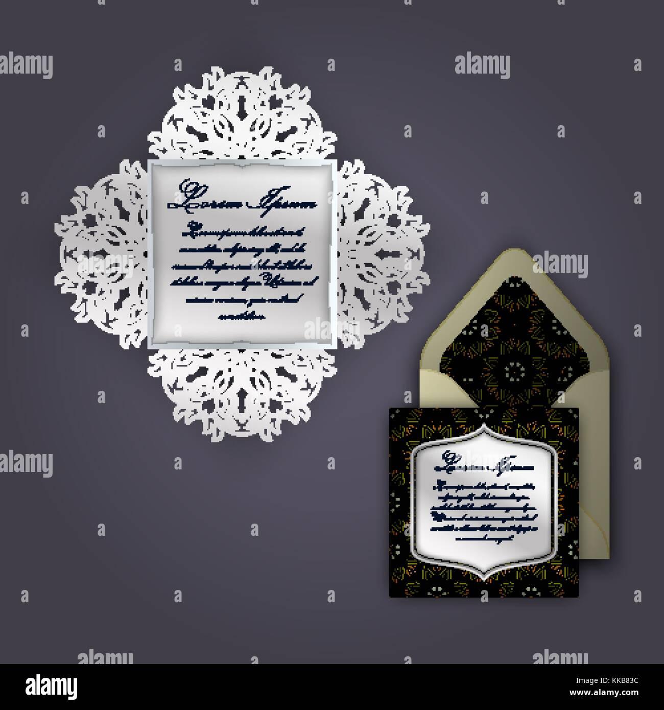 Hochzeit Einladung Oder Grusskarte Mit Vintage Floralen Ornament