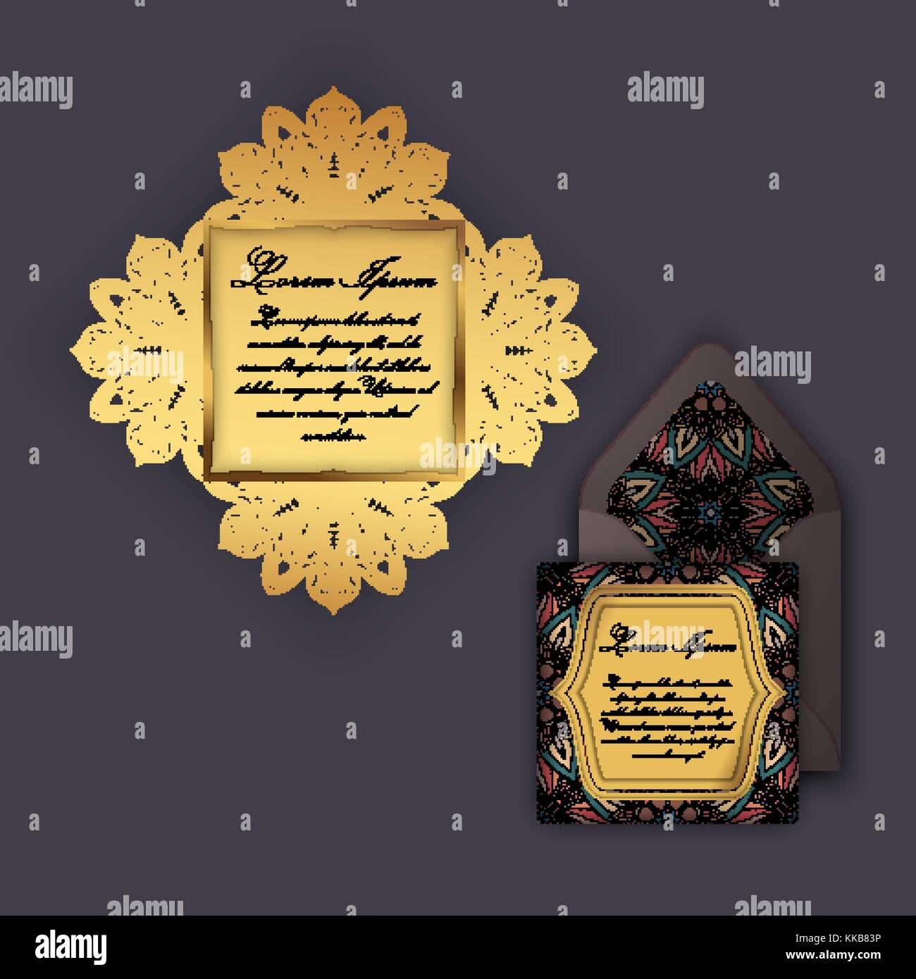 Hochzeit Einladung Oder Grußkarte Mit Vintage Floralen Ornament. Papier  Spitze Umschlag Vorlage, Mock Up Für Laserschneiden. Vector Illustration.