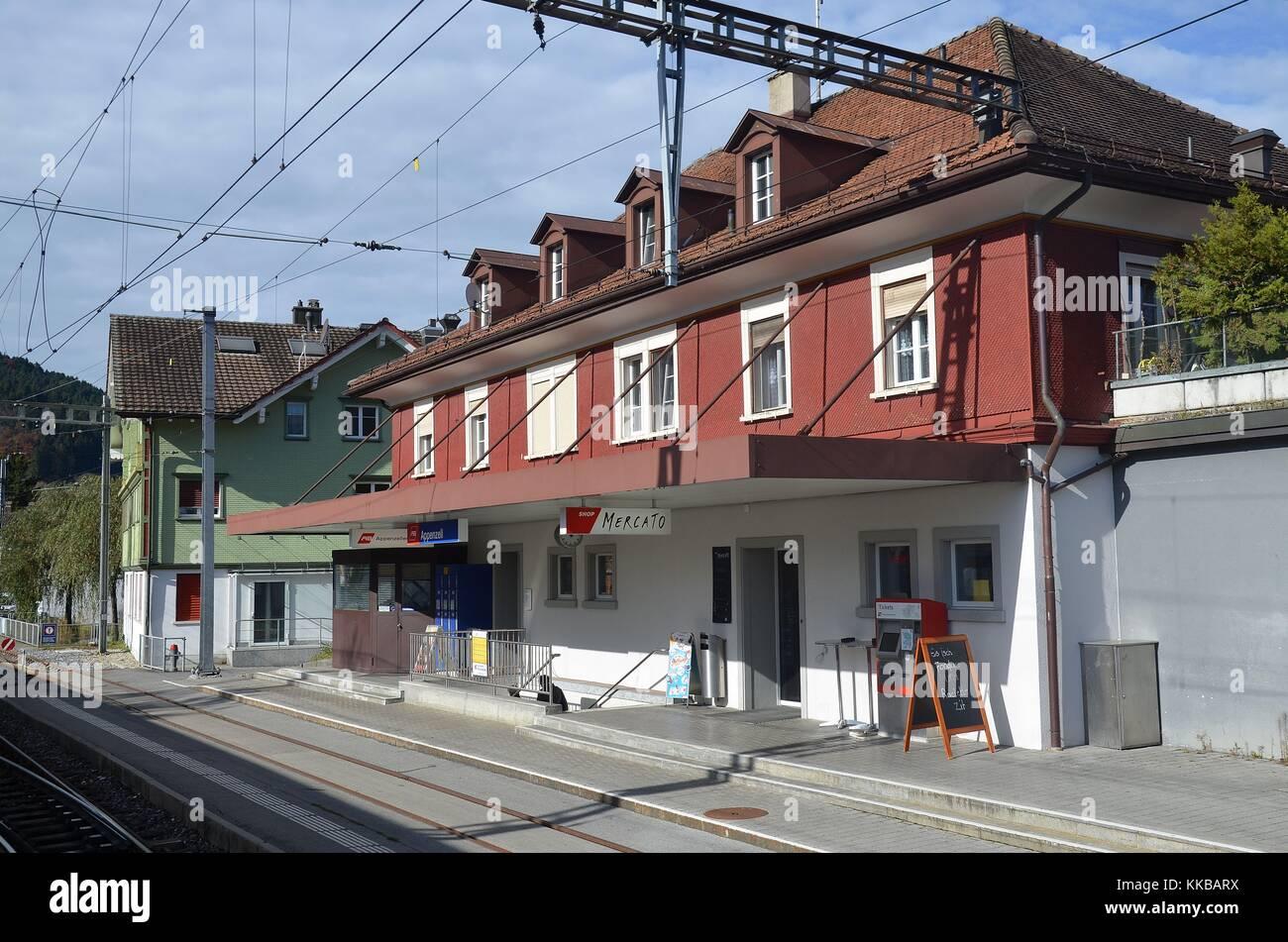 Appenzell (Schweiz): Der Bahnhof Stockbild