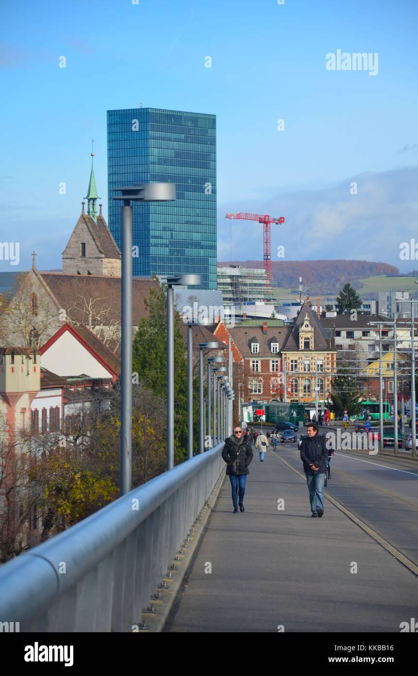Blick auf Basel (Bâle, Basilea) in der Schweiz Stockbild