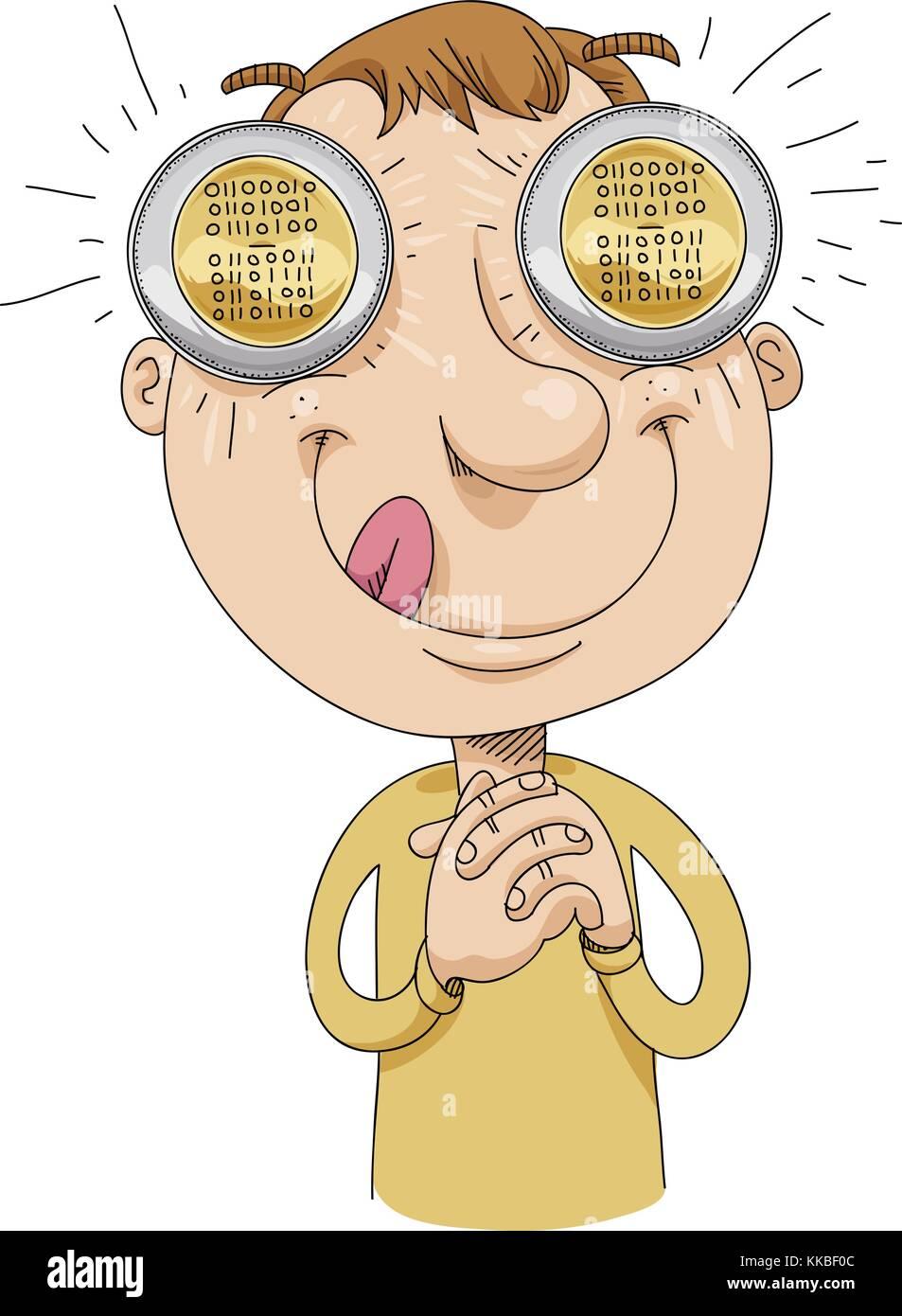 Ein Gieriger Cartoon Mann Mit Bitcoins In Seinen Augen Denkt über