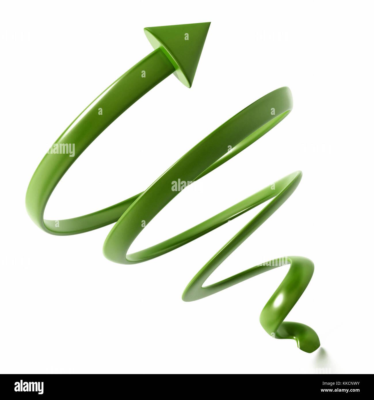 Helix geformte zeigende Pfeil auf weißem Hintergrund. 3D-Darstellung. Stockbild