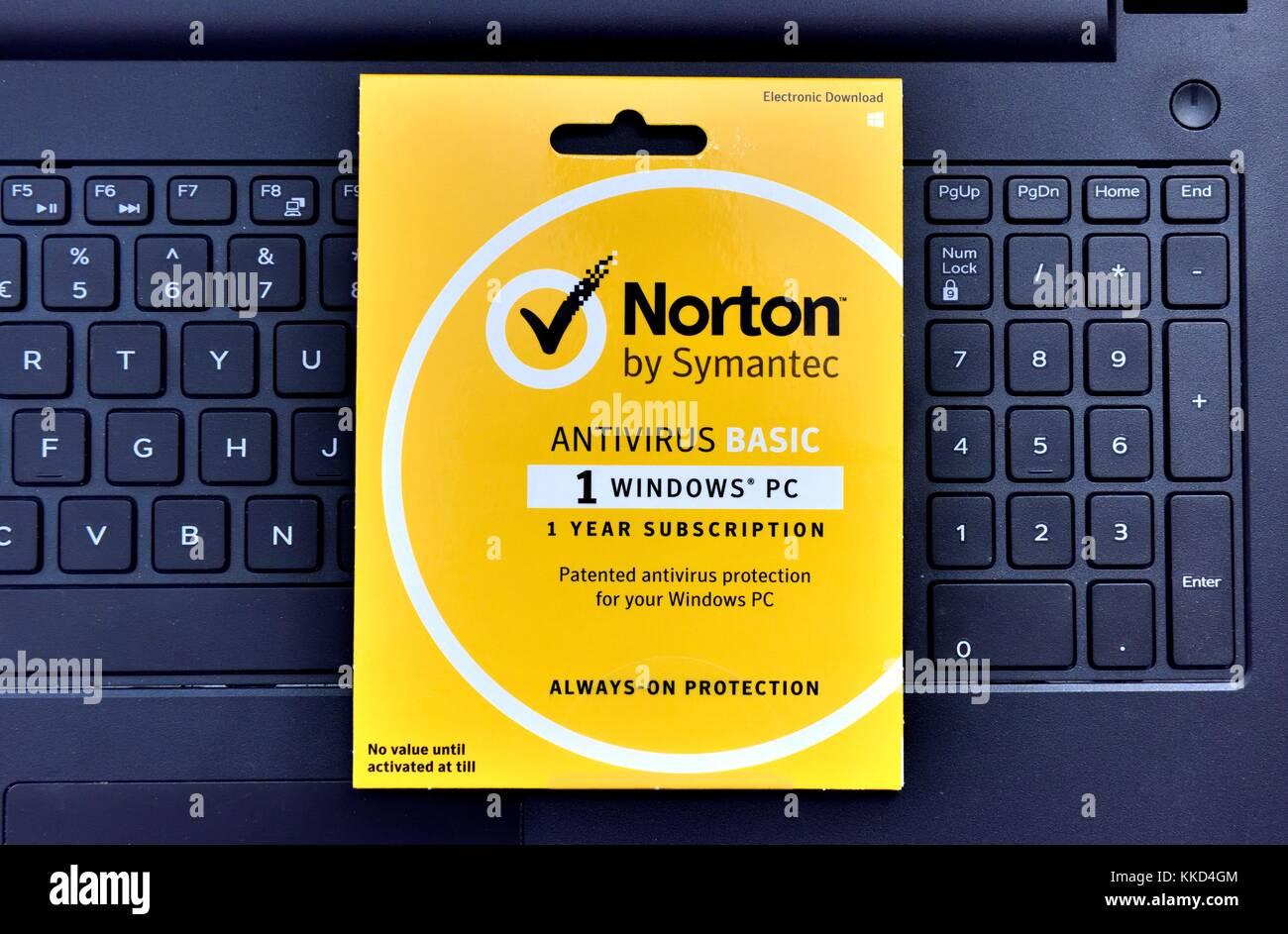 Norton Antivirus Basic download Pack Stockfoto