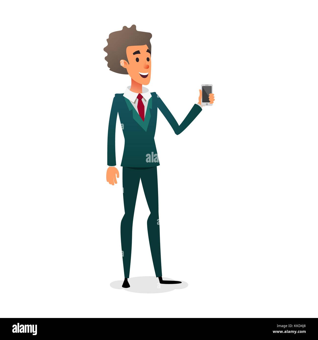 Sales Consultant Zeigt Ein Gadget Cartoon Charakter Junger Arbeitnehmer Ist Der Verkauf Smartphone