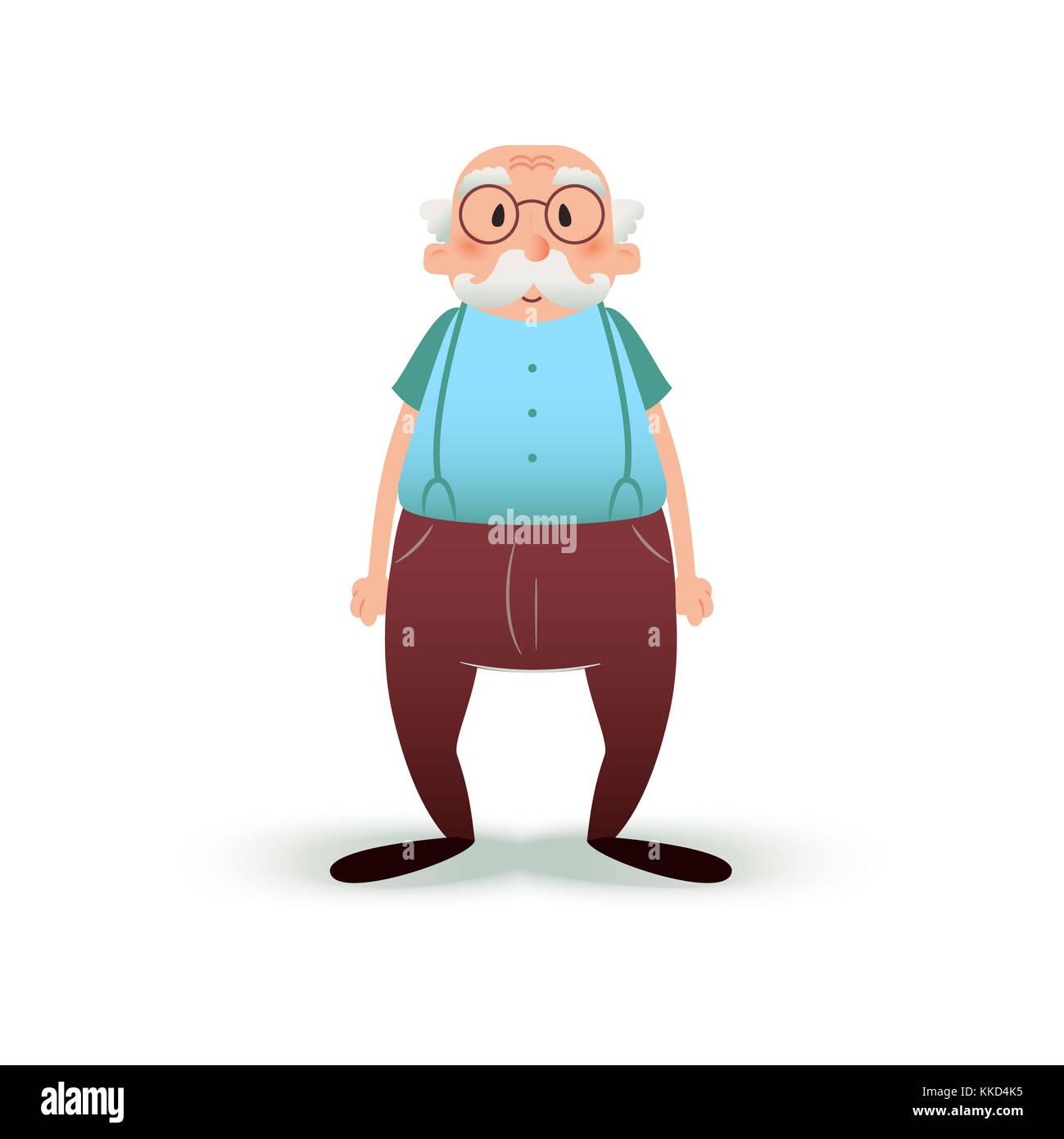 Lustige Cartoon Alter Mann Charakter Alterer In Der Brille Und Mit