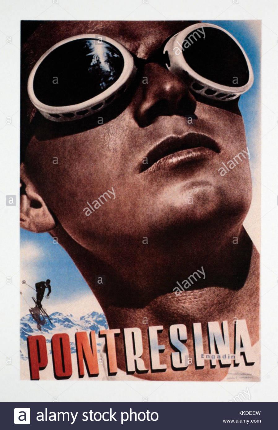 Vintage Travel Poster Werbung Pontresina in der Schweiz Stockfoto