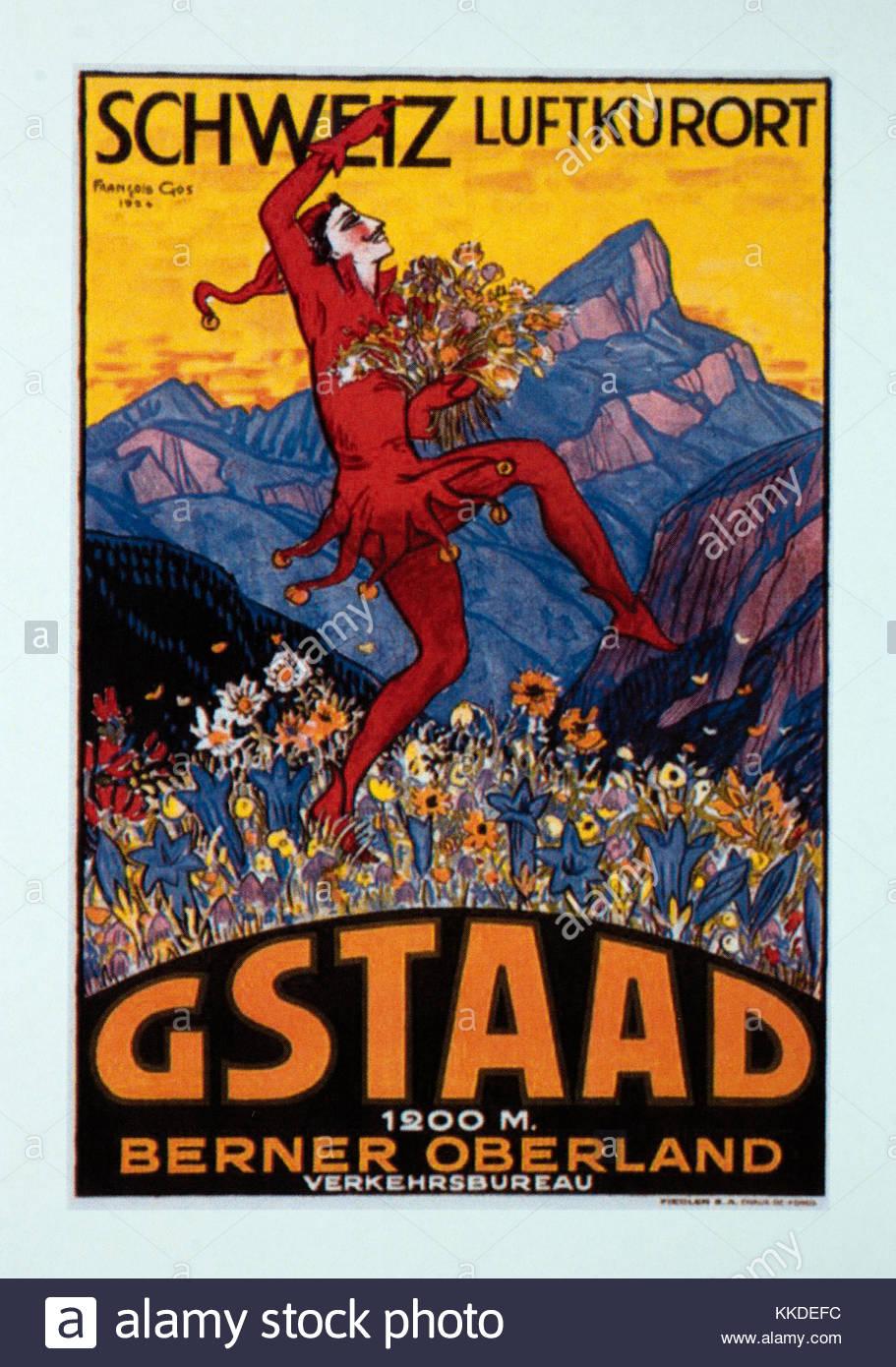 Vintage Travel Poster Werbung Gstaad Schweiz Stockfoto