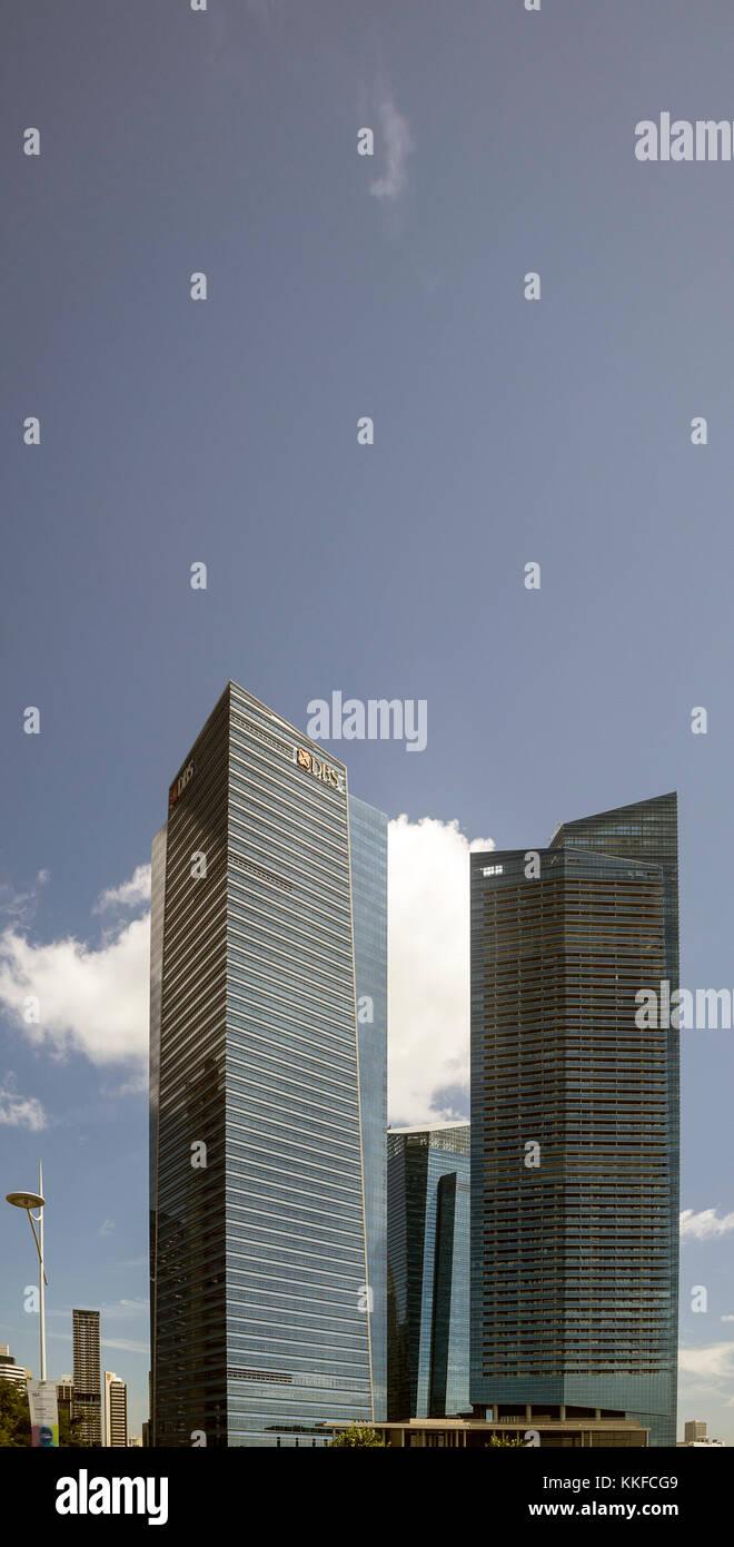 Die Skyline des modernen Singapur fotografiert im Juli 2017 Stockbild
