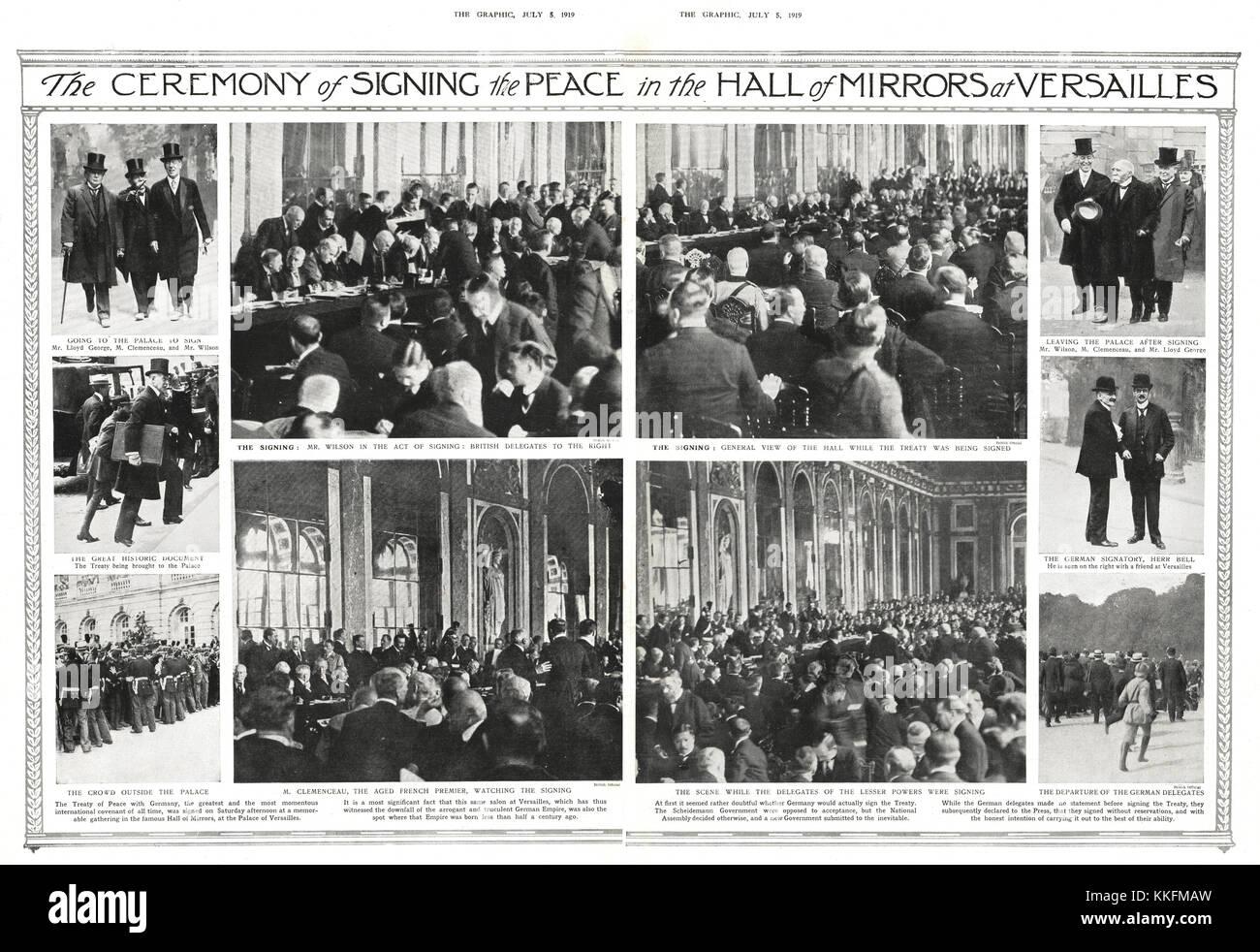 1919 Die Grafik Unterzeichnung Des Vertrag Von Versailles Stockfoto