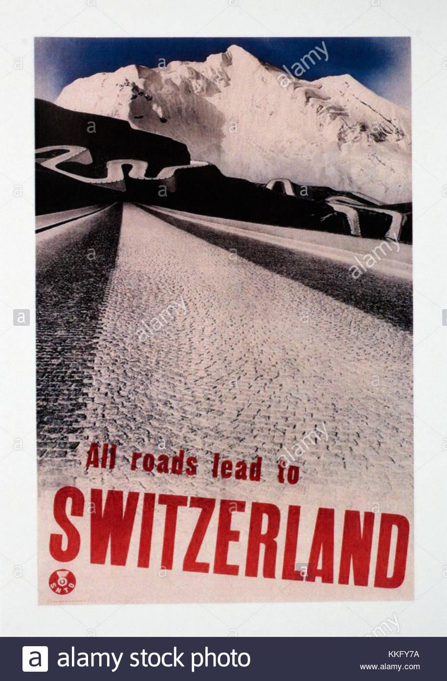 Vintage Travel Poster Werbung Schweiz Stockfoto