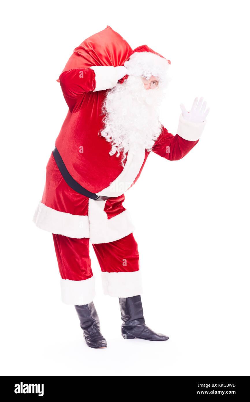 Weihnachtsmann mit sack Stockbild