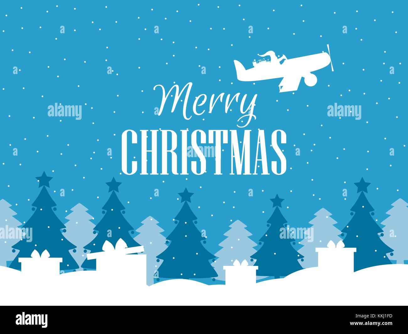 Frohe Weihnachten Flugzeug.Frohe Weihnachten Santa Claus Fliegen In Einem Flugzeug Und