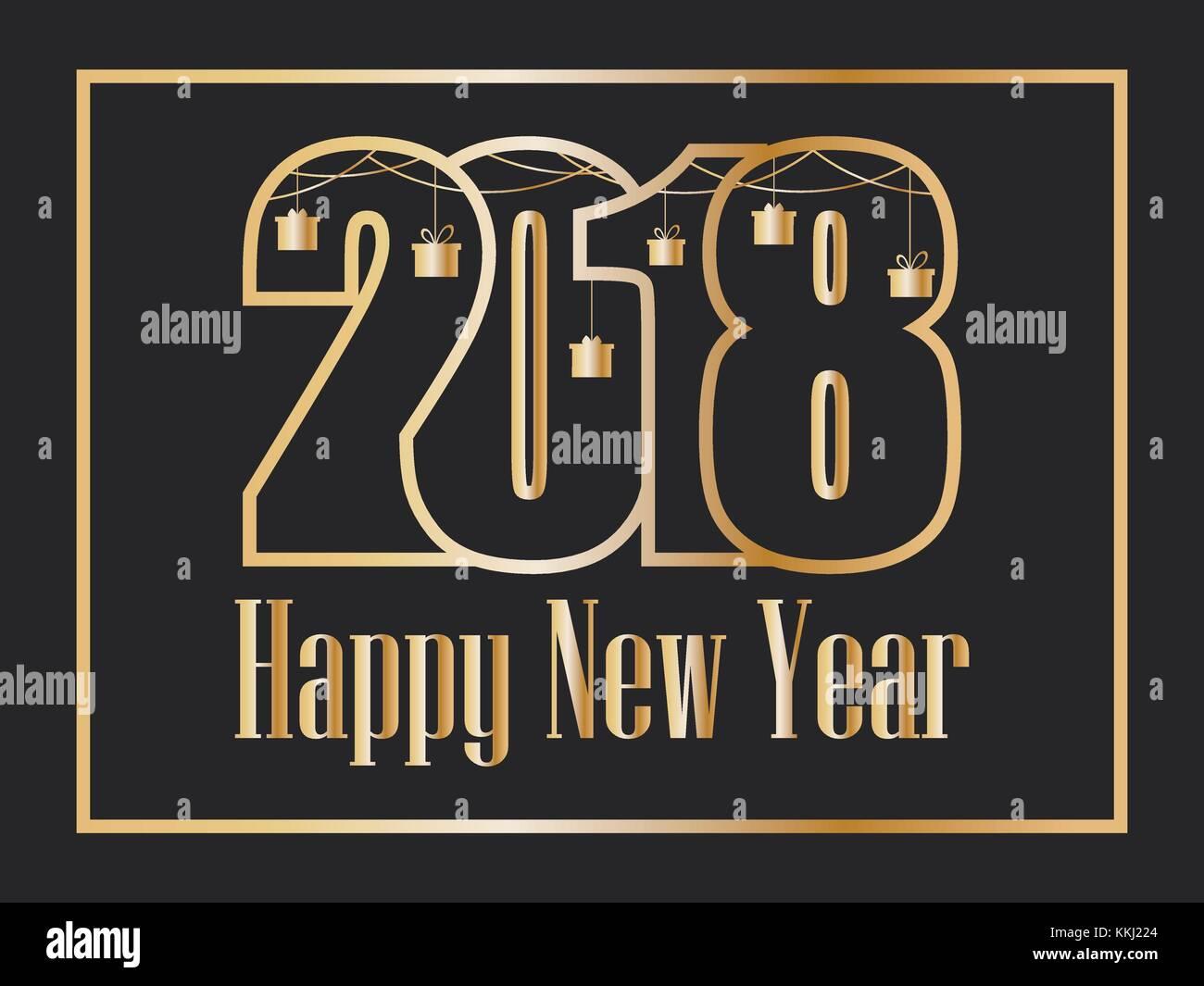 2018 Frohes neues Jahr. Goldenen Zahlen auf schwarzem Hintergrund ...
