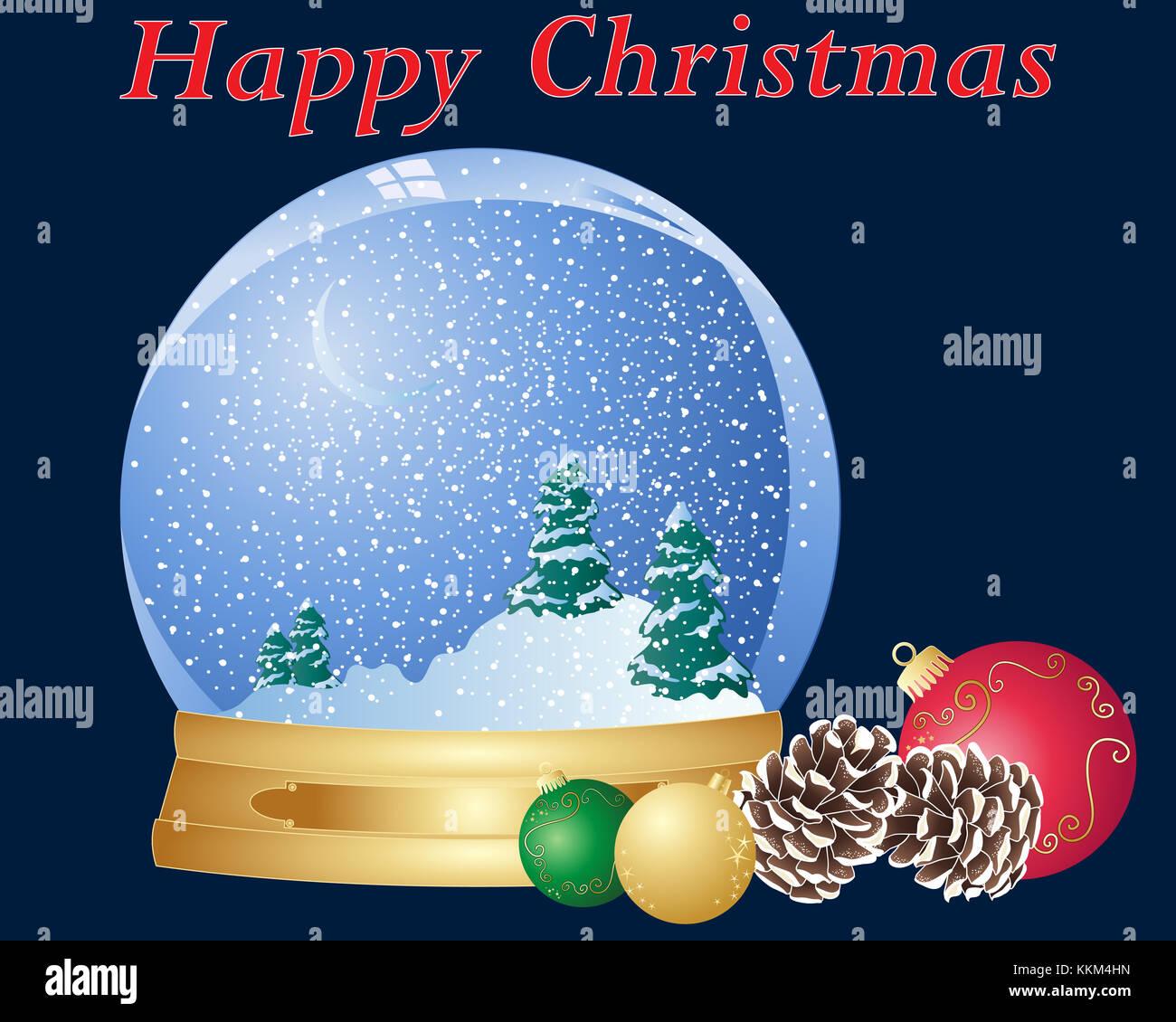 Der Weihnachten.Eine Darstellung Der Weihnachten Snow Dome Tannenzapfen Und Urlaub