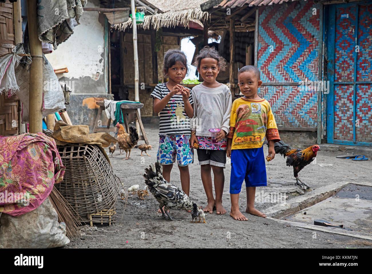 Indonesische Kinder mit Hühnern in einem kleinen Fischerdorf mit Bambus Häuser auf der Insel Lombok, Indonesien Stockbild
