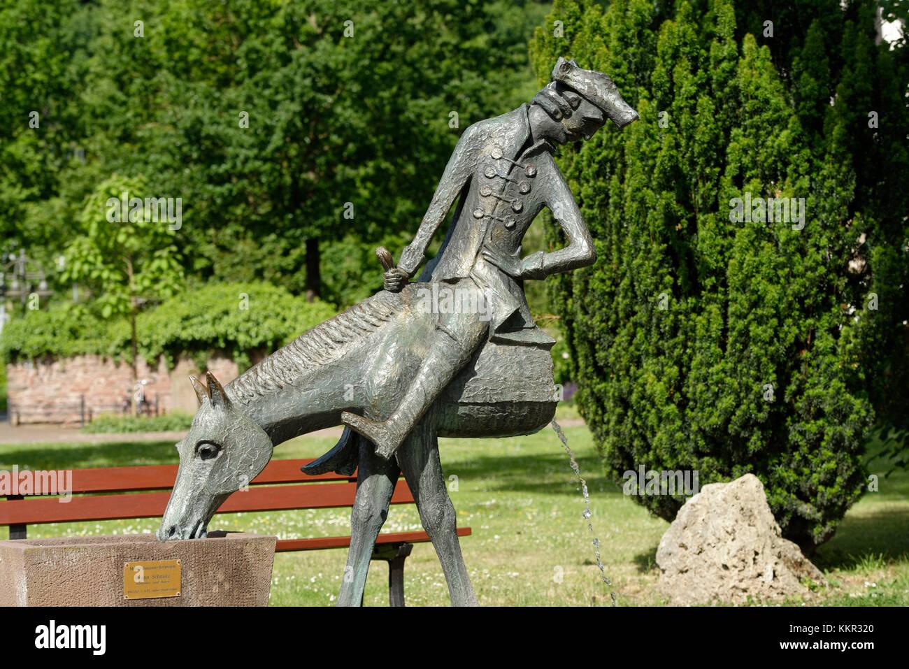 Münzhausener Skulptur in der Altstadt von Bodenwerder, Weserberge, Niedersachsen, Deutschland Stockfoto