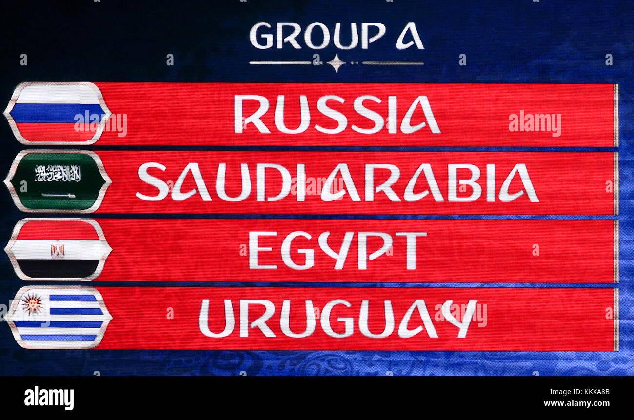 Moskau Russland 1 Dez 2017 Die Tabelle Zeigt Die