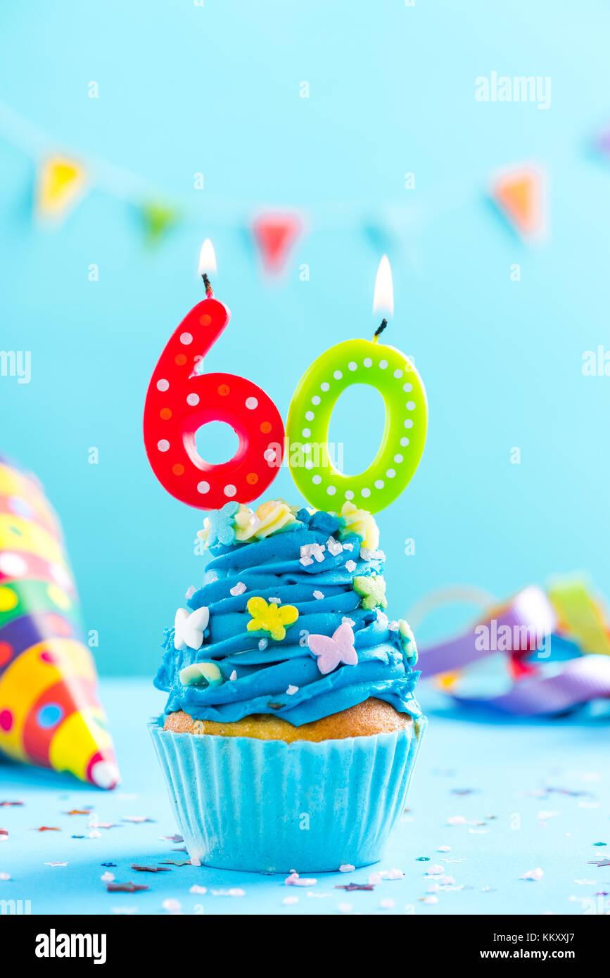 60 60 Geburtstag Cupcake Mit Kerze Und Streuseln Karte Mockup