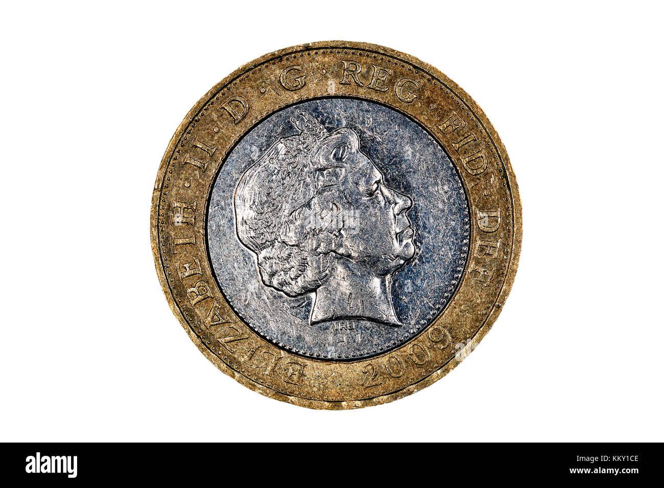 Die Köpfe Von Zwei Pfund Münze Die Queen Elizabeth Kopf Auf Weißem