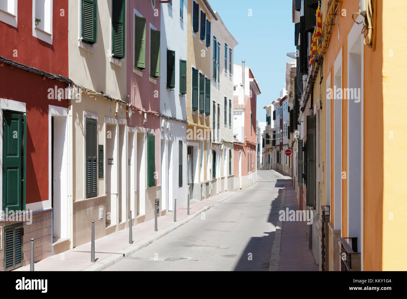 Leben in Mahón - Menorca - Balearen Stockfoto
