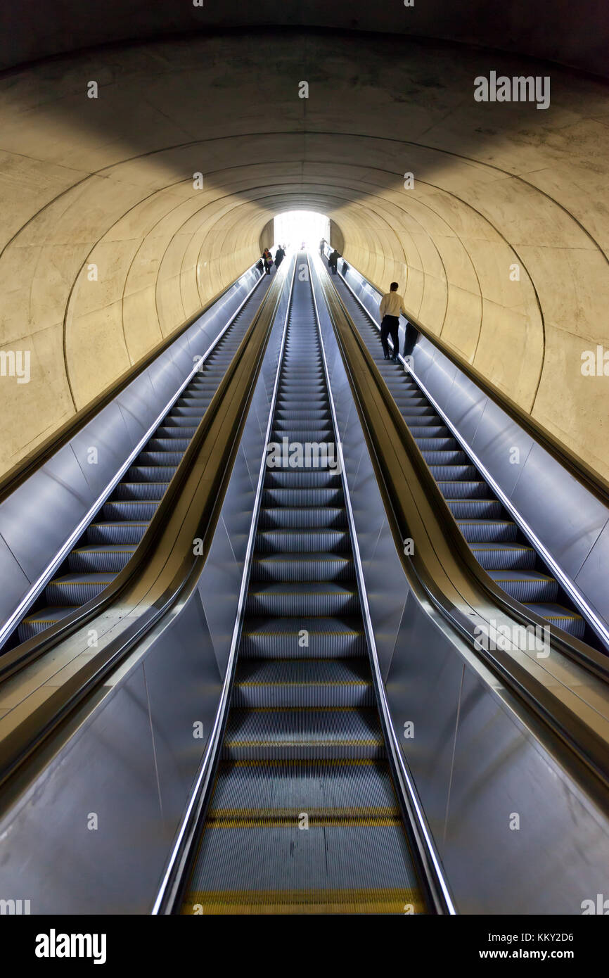 Der u-bahn Rolltreppe - Washington, DC - Vereinigte Staaten - USA Stockfoto