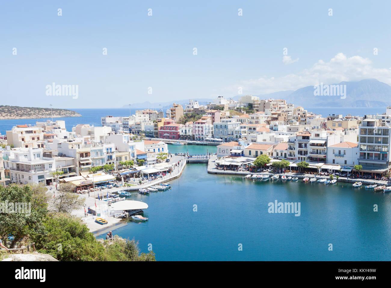 Kreta - Griechenland - Hafen von Agios Nikolaos, Europa Stockfoto