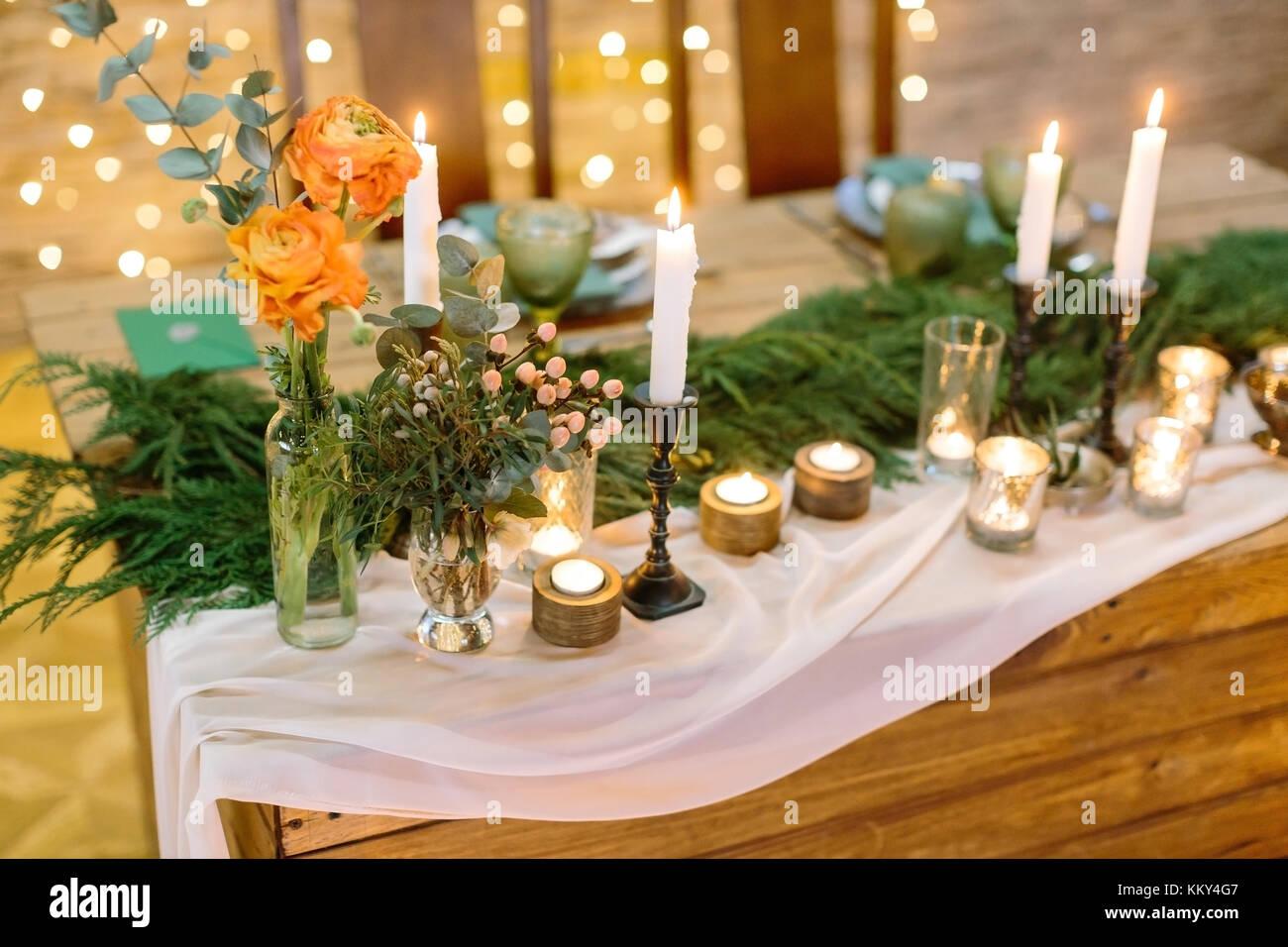 Hochzeit Tischdekoration Komfort Konzept Winter Einrichtung Der