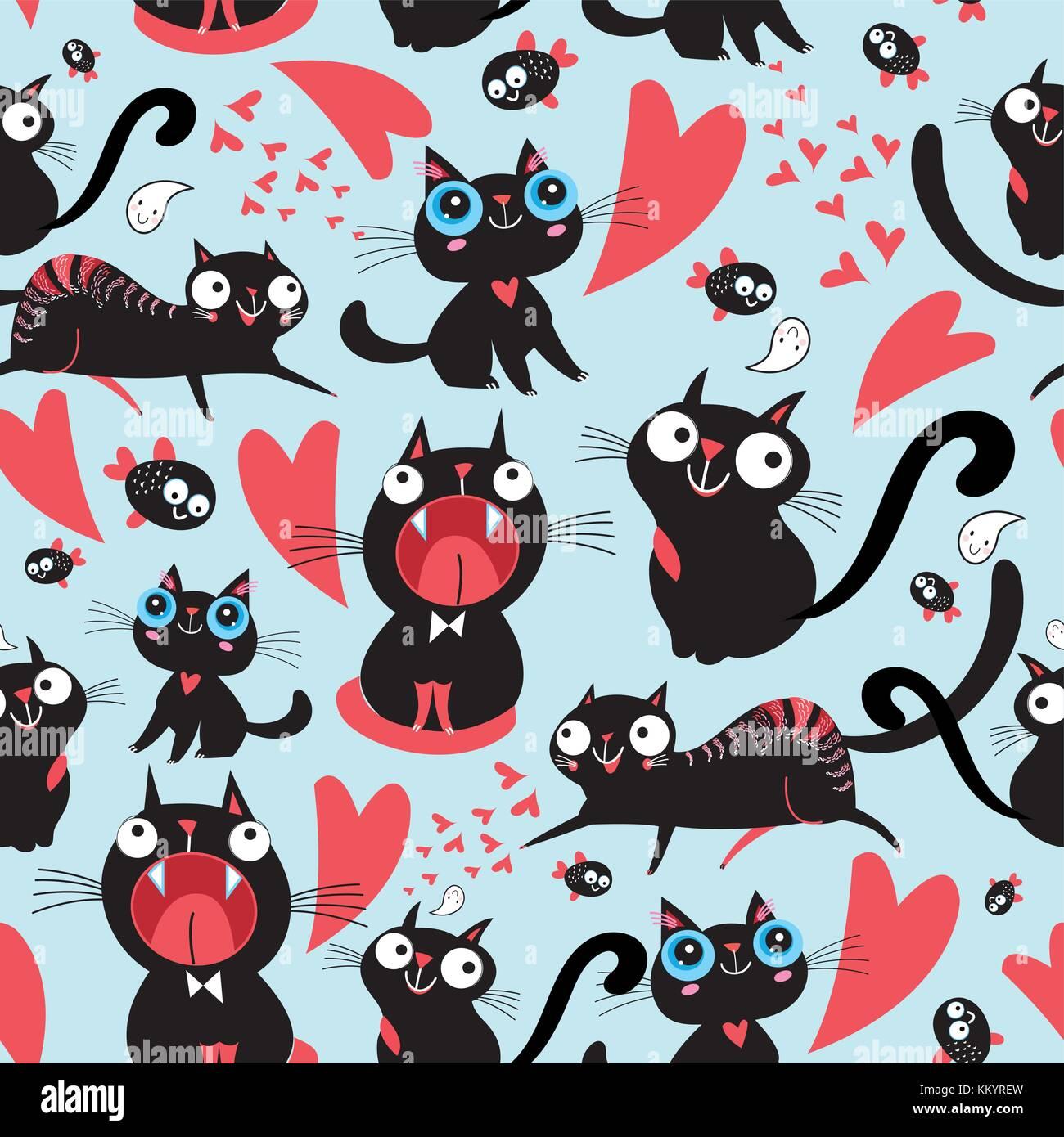 Cool Muster Der Lustig Lieben Katzen Auf Einen Hellen Hintergrund