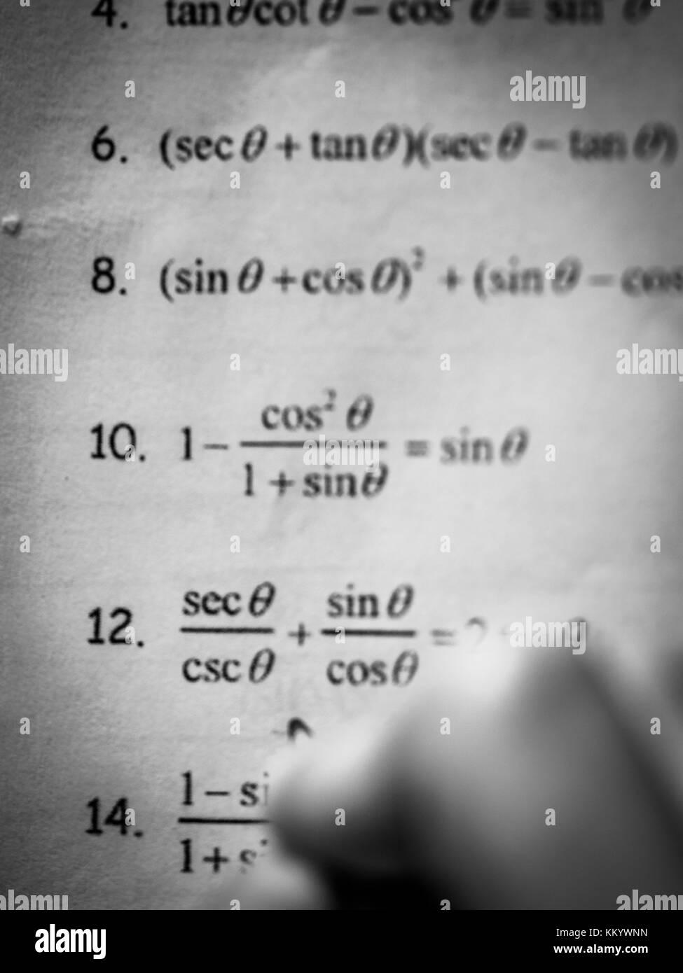Studieren für anspruchsvolle mathematische Test Stockbild