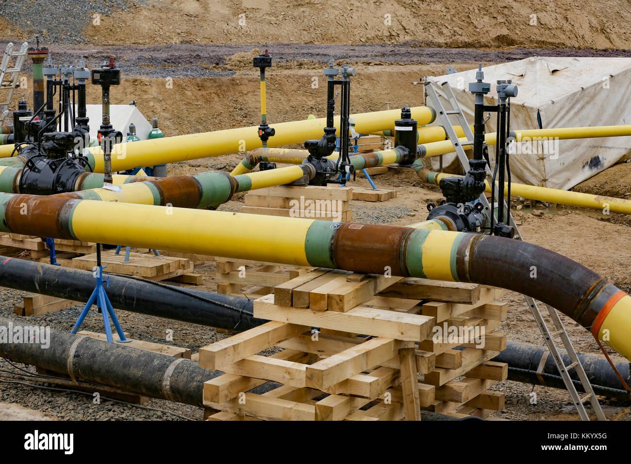 Bauarbeiten Gasleitung, Hessen, Deutschland Stockbild