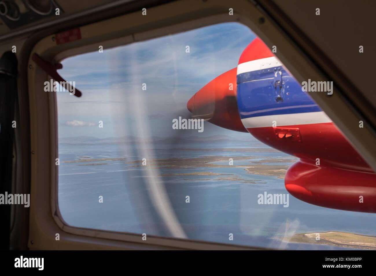 Blick aus ein kleines Flugzeug, Falkland Inseln Stockbild