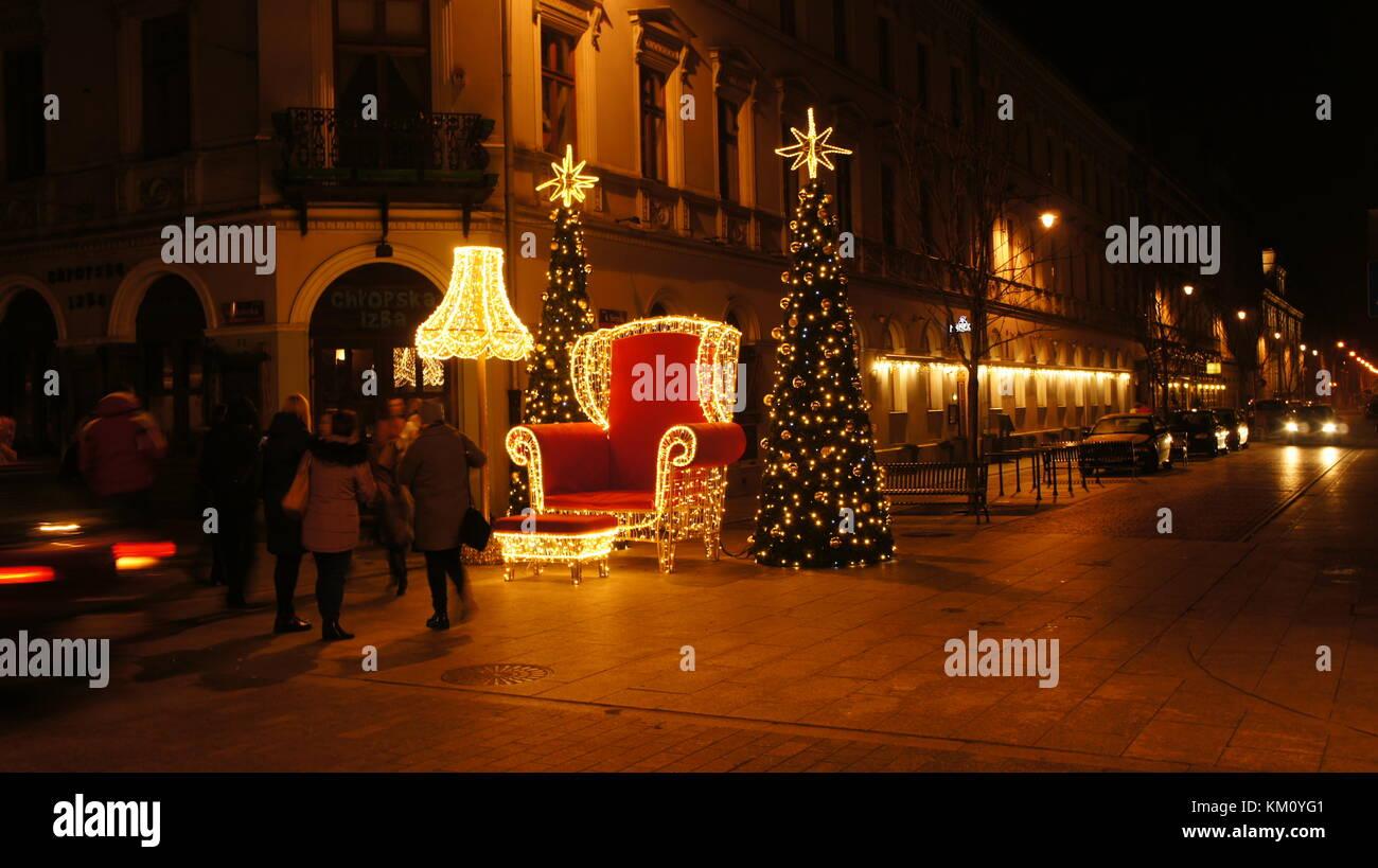 weihnachten in lodz polen stockfoto bild 167208049 alamy. Black Bedroom Furniture Sets. Home Design Ideas