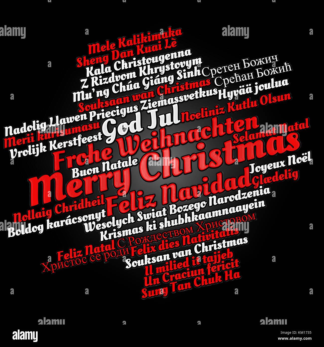 Frohe Weihnachten In Allen Sprachen.Frohe Weihnachten In Verschiedenen Sprachen In Wort Cloud