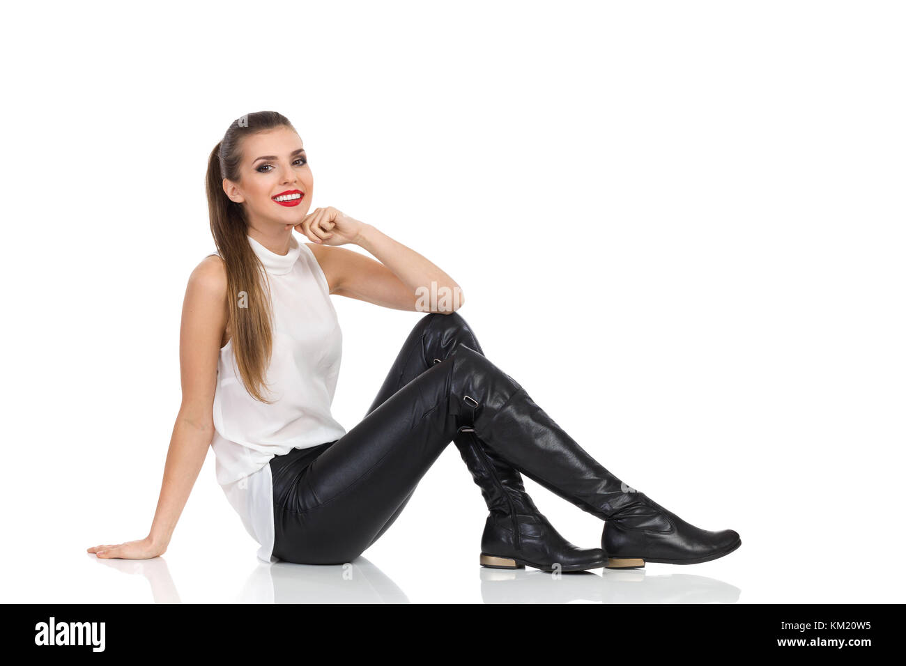 Leather Trousers Boots Stockfotos Amp Leather Trousers Boots