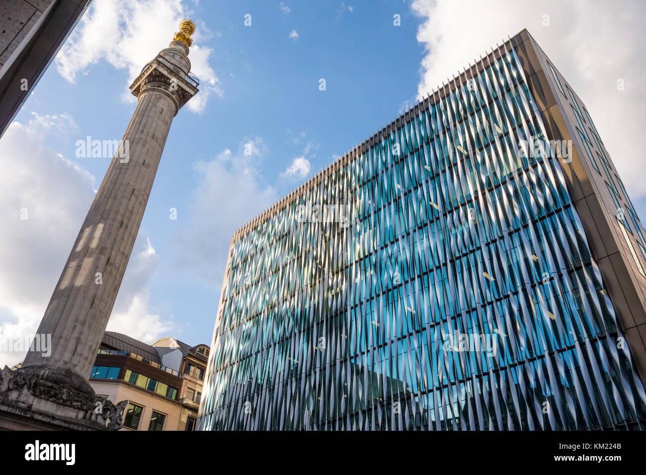 Das Monument, das Gebäude wurde von den Architekten Ken Shuttleworth's an 11-19 Monument Street, London, Stockbild