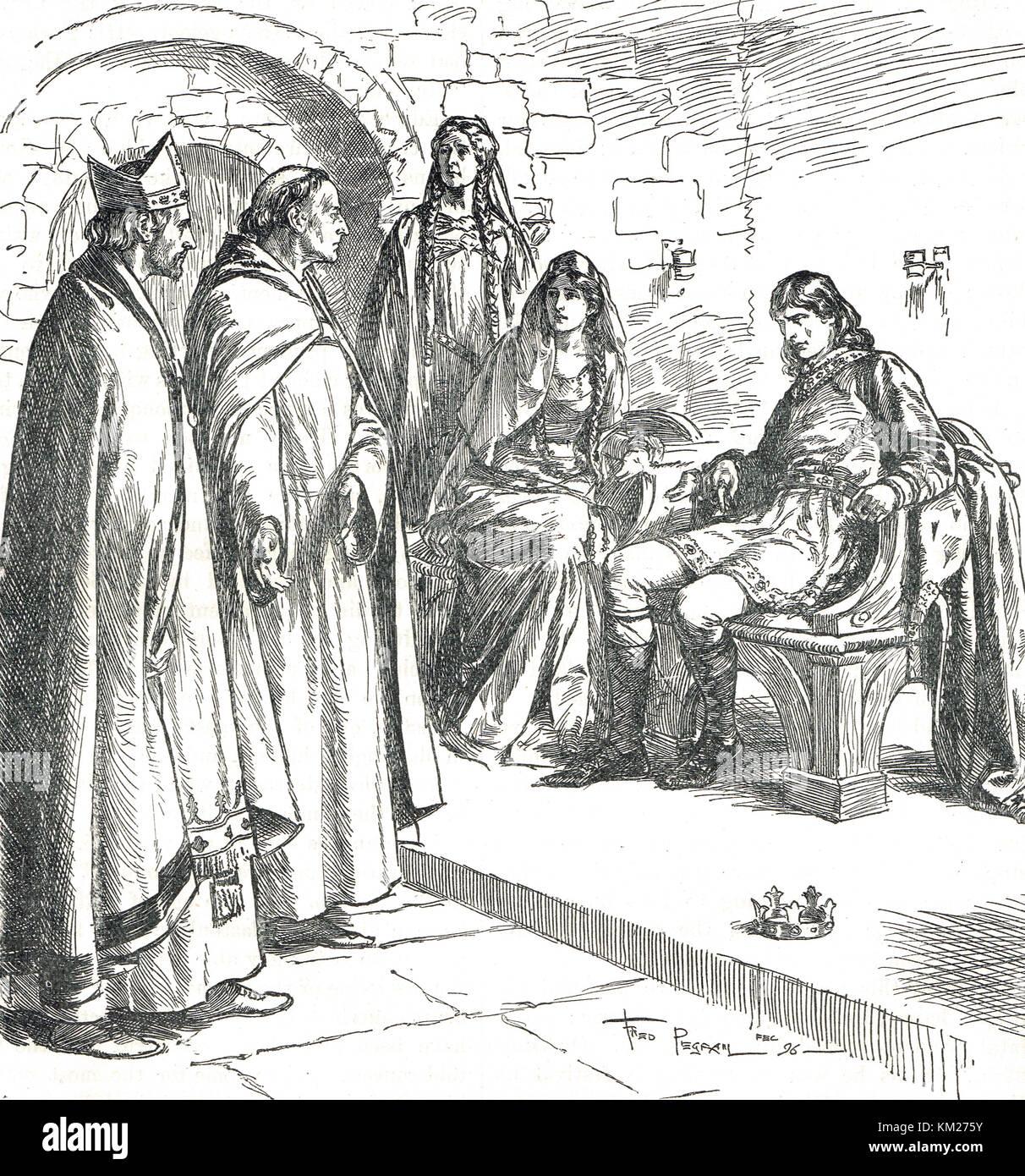 Dunstan strafte edwy (eadwig) in Anwesenheit von elgiva (aelfgifu), Ad 955 Stockbild