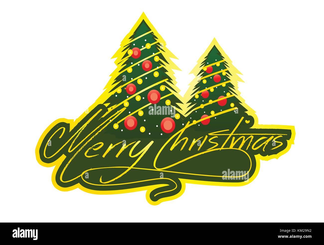 Frohe Weihnachten mit Baum und Script Schrift, Illustration Design ...