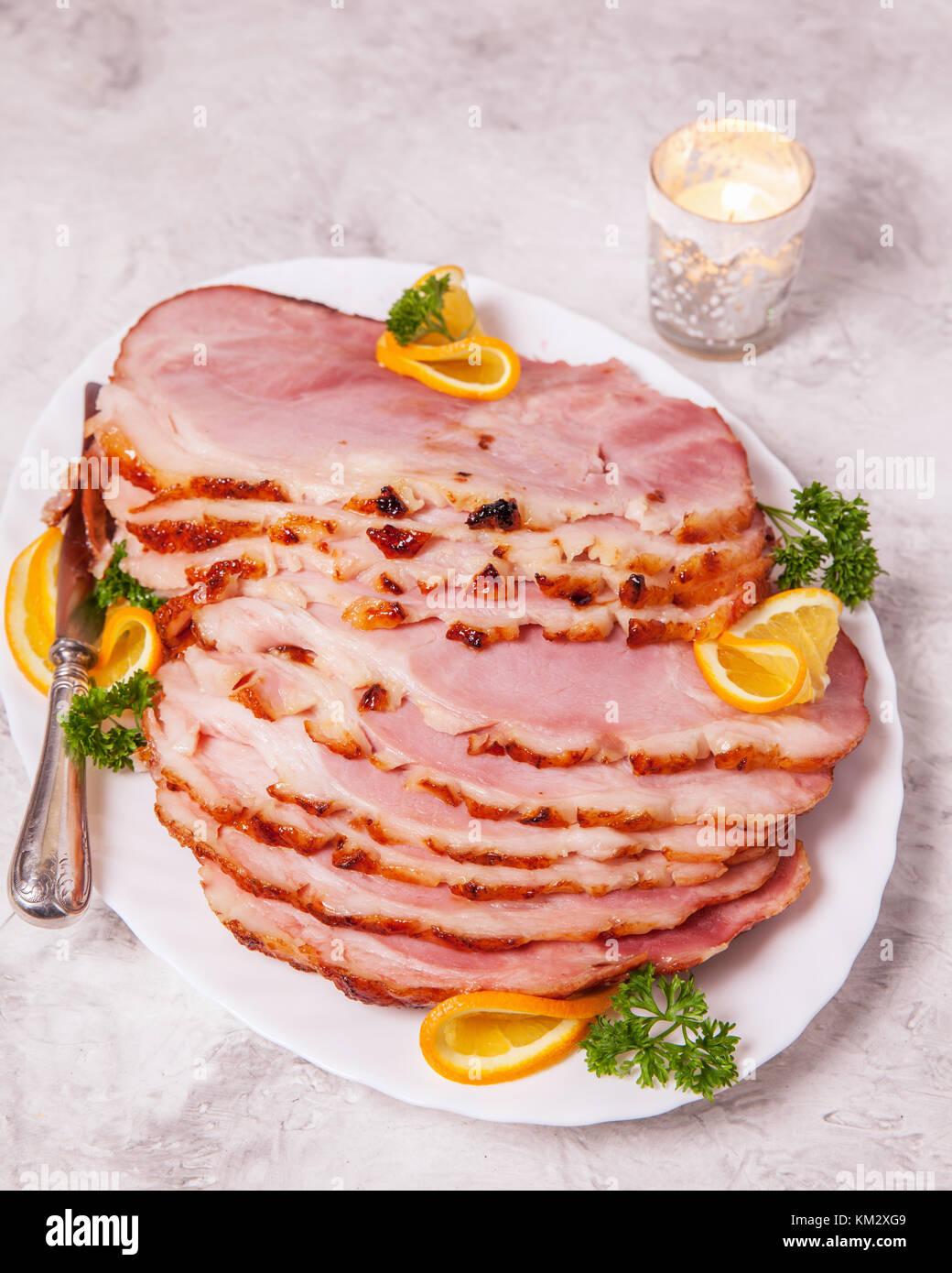 Weihnachten geröstete verglaste Urlaub Schweinefleisch Schinken Stockbild