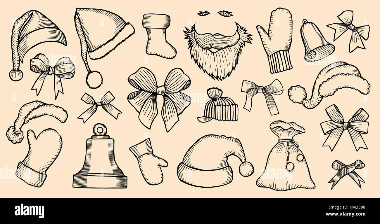 Set Der santa Hüte, Taschen, Bart, Mitt, Bug, Bell,. Skizze von ...