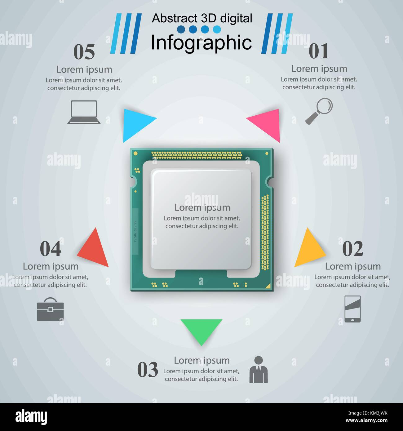 Mikroprozessor, Chip, elektronische Komponenten Symbol Vektor ...