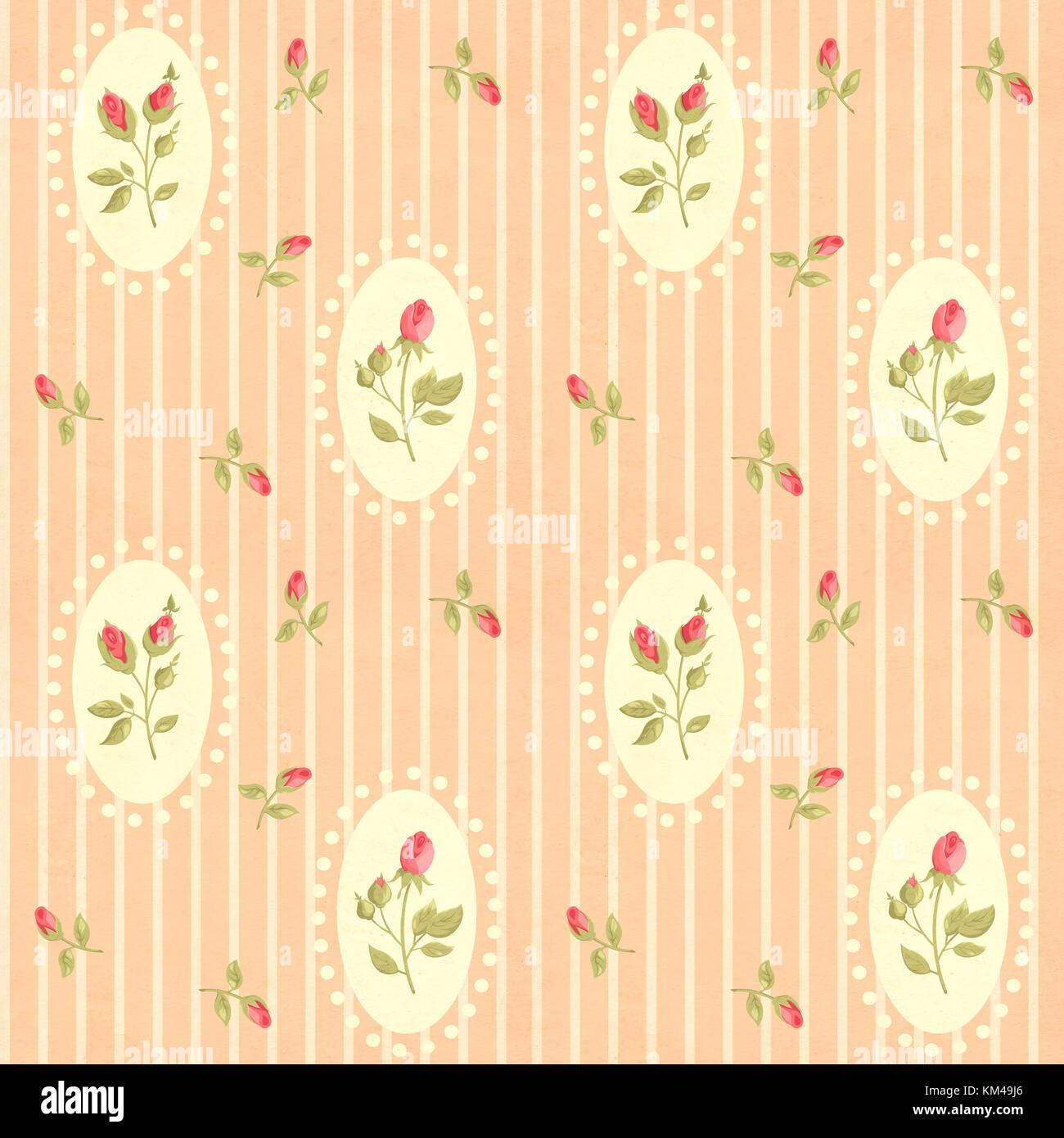 Nahtlose Retro Muster Fliesen Mit Rose Blume Im Shabby Chic Stil