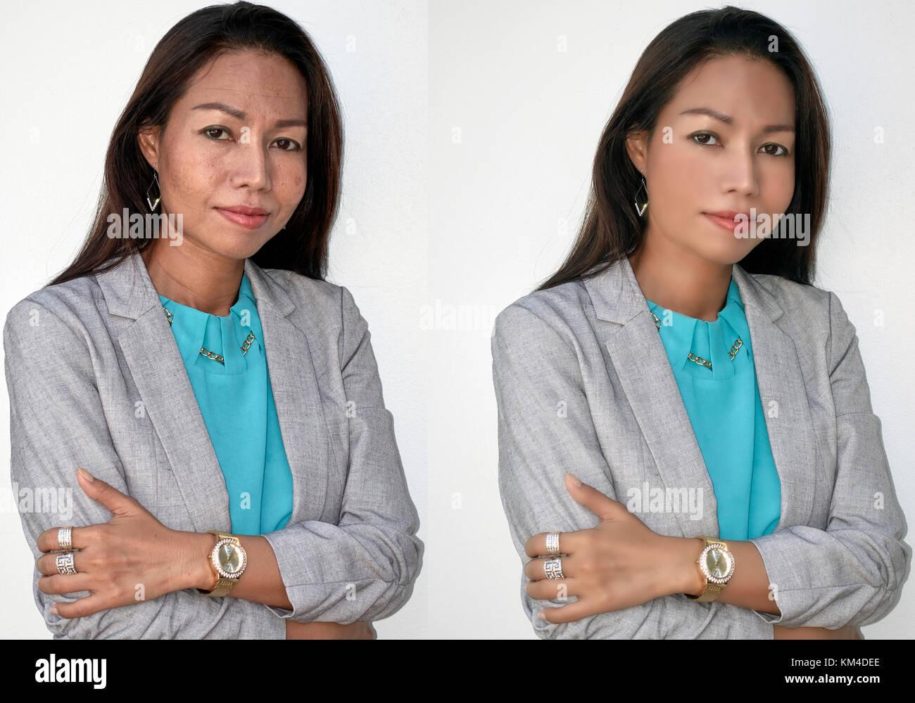 Vor und nach Photoshop manipulation Porträt eines reifen 45 Jahre alte Frau. Digitale makeover Stockbild