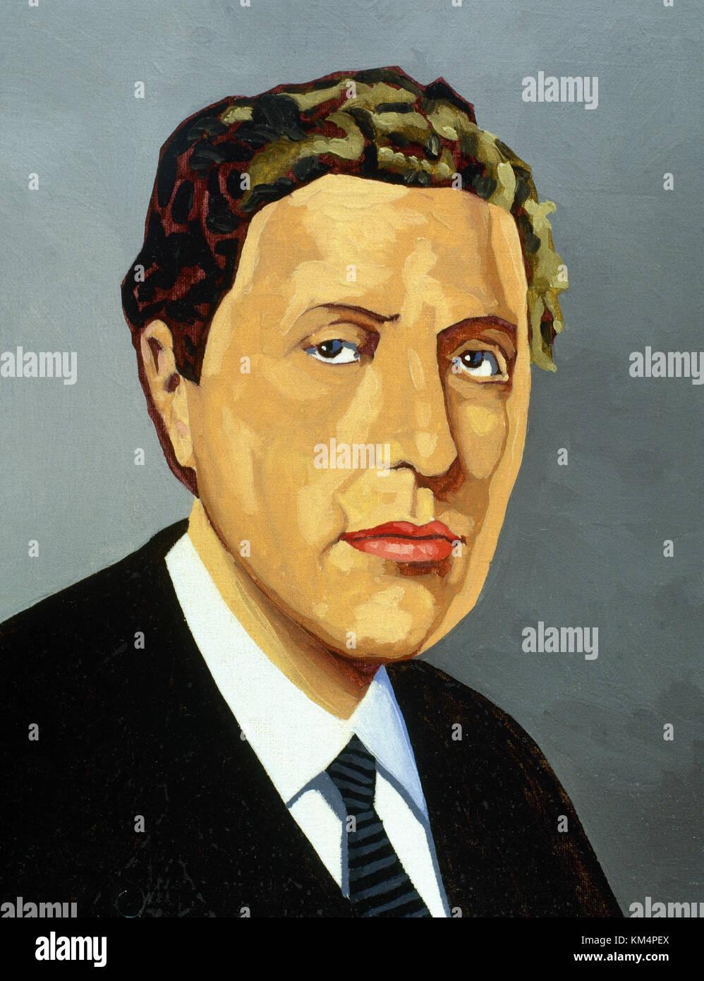Alban Berg (1885-1935). österreichischen Komponisten der Zweiten Wiener Schule. Portrait.Aquarell. Stockbild