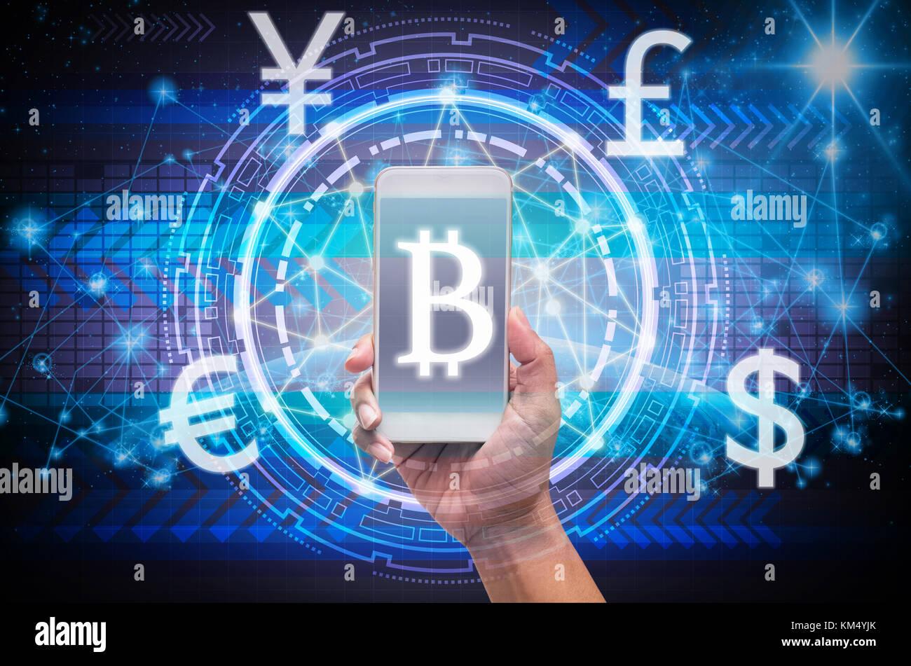 Holding smart phone die finanzielle Technologie mit Block Kette Übersicht über die Innovation Technologie Stockbild