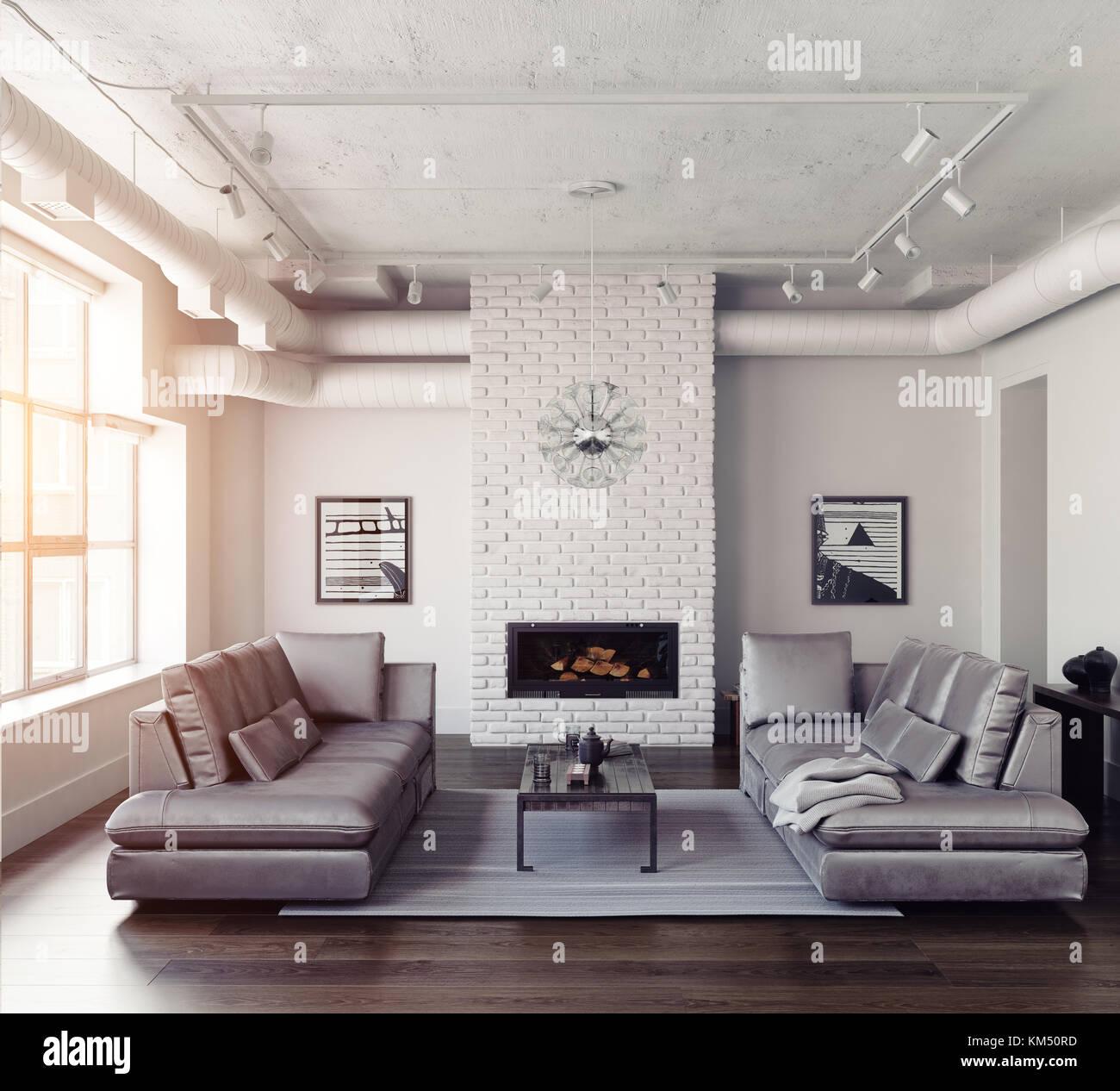 Interior Room Fireplace Sofa 3d Stockfotos & Interior Room Fireplace ...