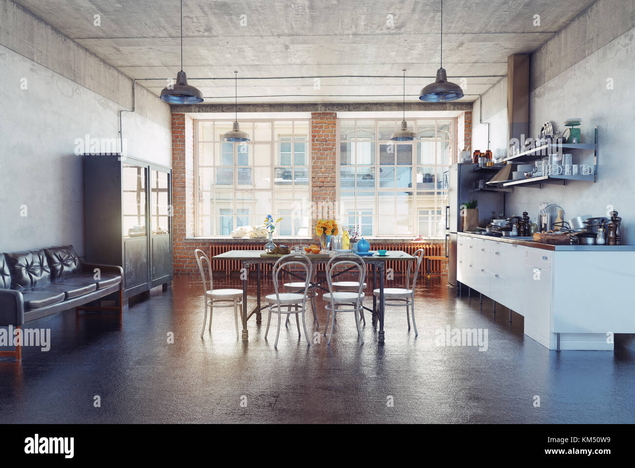Das moderne Loft kirchen Interieur. 3D-Konzept Stockfoto, Bild ...