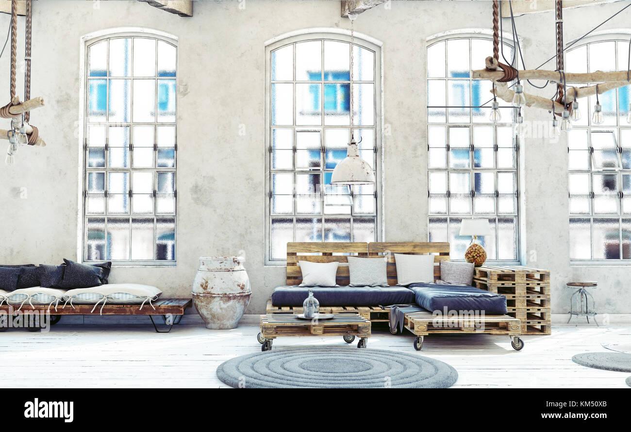 Dachgeschoss Wohnzimmer Interieur. Palette Möbel. 3D-Darstellung Stockbild