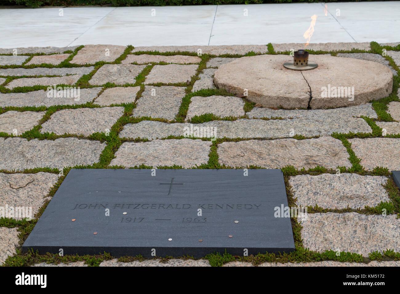 Das Grab Plakette Von John F Kennedy Und Ewige Flamme Präsident
