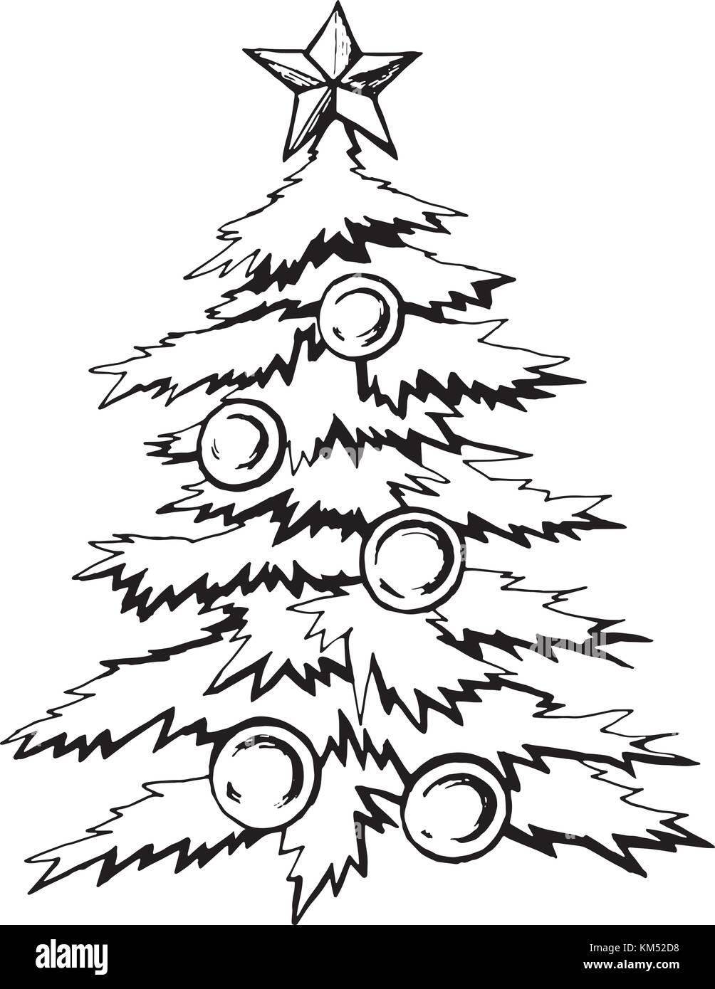 weihnachtsbaum mit kugeln dekoriert vektor abbildung. Black Bedroom Furniture Sets. Home Design Ideas